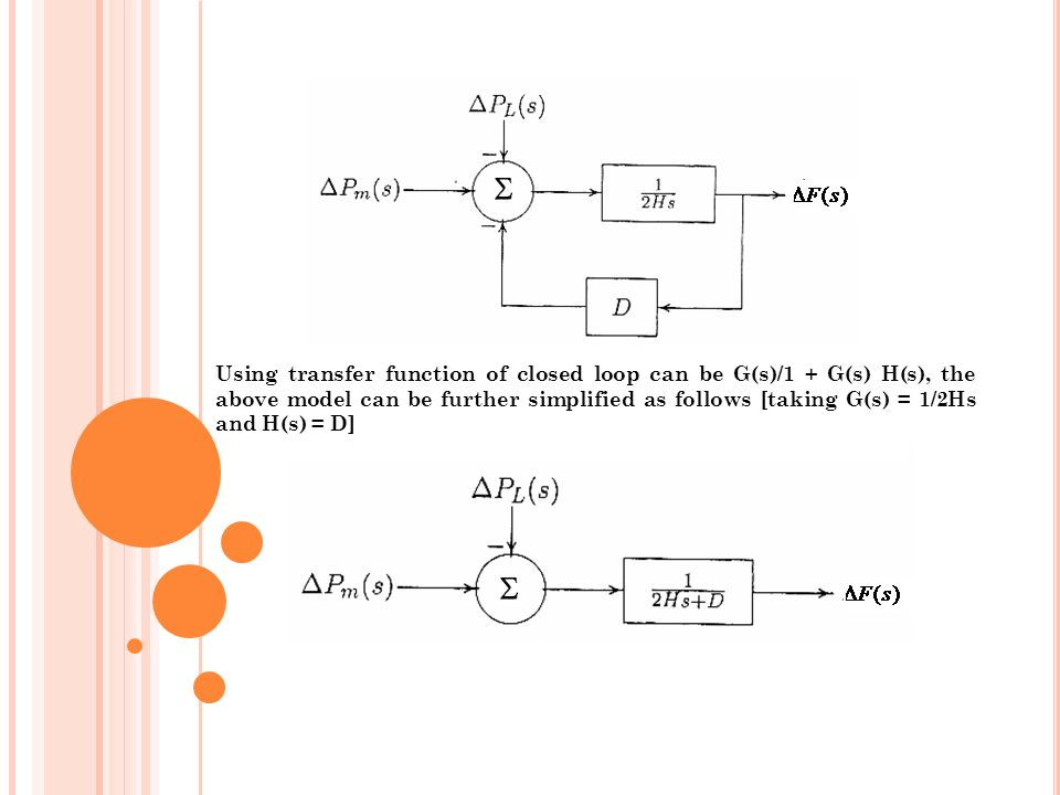 Using transfer function of closed loop can be G(s)/1 + G(s) H(s), the above model can be further simplified as follows [taking G(s) = 1/2Hs and H(s) = D]